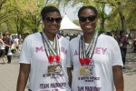 Ashley (L) and her cousin/donor Maquia run the UAE Healthy Kidney 10K